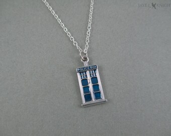 Dr. Who Tardis Charm Necklace - Police Box - Silver Blue Charms