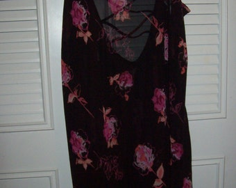 Nightgown XL,  Gilligan & O'Malley Black Rose Roses Print -Sheer and Beautiful Nightgown  XL