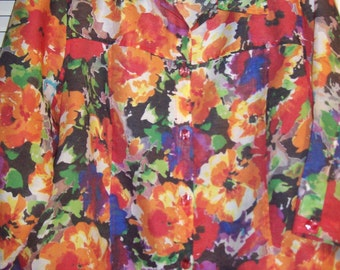 Vintage Erin Spring Splash of Color in 1X Shirt Blouse. Stunning Palette Paint!