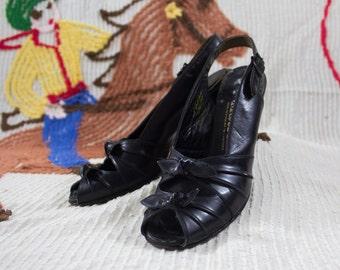 40s Black Peeptoes | 40s Black Heels | Black Leather Heels | 1940s Shoes | 40s Leather Shoes | Leather Peeptoes | 40s High Heels | 8 U.S