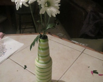 Upcycled Multicolored Yarn Wrapped Beer Bottle Vase