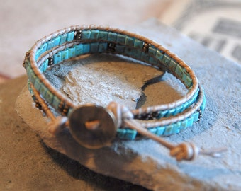 Ladder Bracelet Chan Luu style double wrapped bracelet turquoise picasso square glass beads natural leather cord
