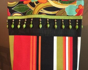 Red Black Lime Stripe/Floral Beaded Tote Bag / Beach Bag