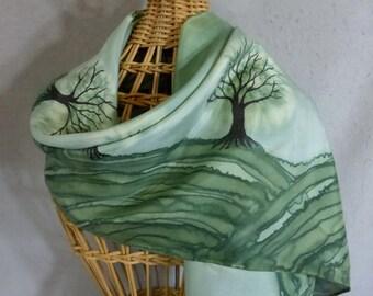 "Silk Scarf ""Moss Green Trees"", Hand Painted Silk Scarf, Green Silk Scarf"
