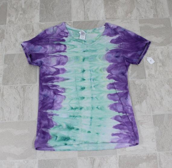 Ladies l tie dye t shirt bright purple and pale blue shirt v for Bright purple t shirt