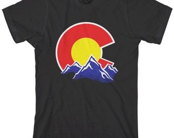 Colorado Mountain Men's T-shirt Coloradan Springs Denver Vail Aspen Rocky US State Flag - TA_00264