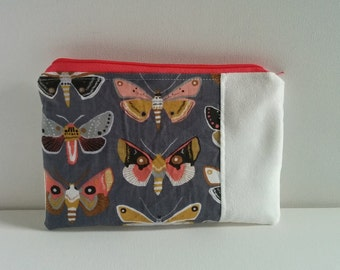 Moth Zip Case (Makeup Bag, Travel Bag, Zipper Case, Toiletry Bag)
