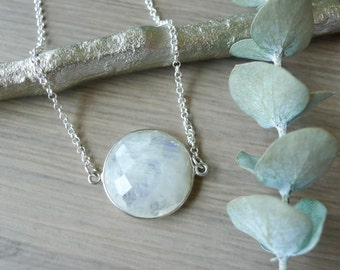 Sterling Silver, Moonstone Necklace, Simple Stone, Round, Modern Moonstone, Large Moonstone, June Birthstone, June Necklace, June Jewelry