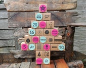 Reusable Advent Calendar, hand stamped, reuse, fill yourself, Xmas, 25 days, pink, mint, traditional, tree, fun
