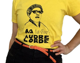 Feminist Alphabet Series; A is For AUDRE LORDE T-Shirt & Screenprint ADULT Sizes