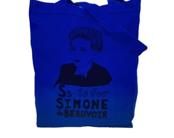 Feminist Tote Bag - Simone de Beauvoir Feminist Screenprint Tote