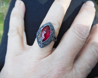 Ruby red ring, red quartz ring, marcasite rings, size 7 1/2 ring,marcasite ring, womans ring, gypsy ring, boho ring, red rings,gypsy rings