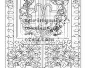 Christmas coloring page - Holiday Xmas Home - Christmas Treats Holiday Coloring Book - Adult Coloring Page