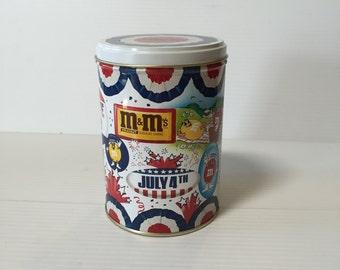 M & M TIN,Vintage peanut candy tin,1988 election tin,July 4th tin,Vote '88 tin,Vintage Candy Tin,vintage advertising tin,promo candy tin
