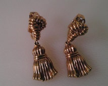 Vintage Trifari Earrings Articulated Gold Tassel Earrings Trifari Jewelry Costume Jewelry Earrings Gold Knot Earrings Something Old Bridal