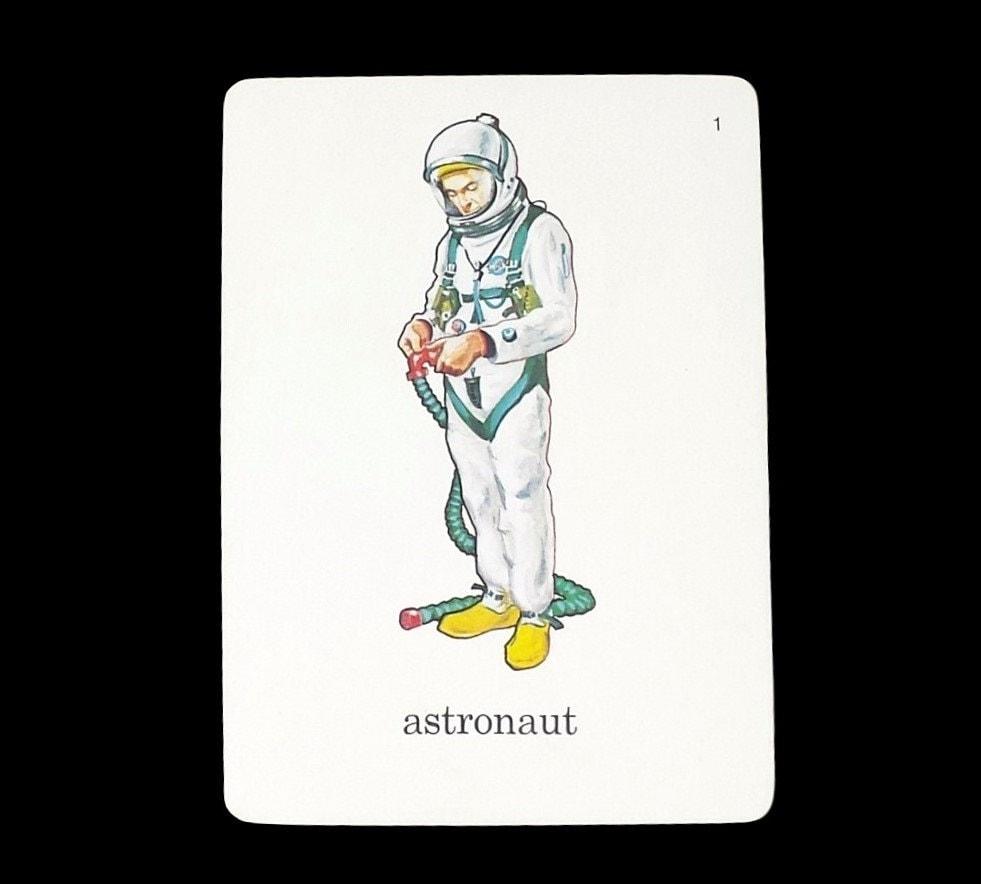 Astronaut Flashcard Vintage Cosmonaut Illustrated Image ...