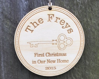 New Home Ornament: Our First House Keepsake/Our 1st Christmas Ornament/Housewarming Gift/Personalized Engraved Wood Ornament