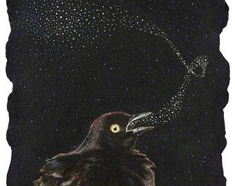 Blackbird Singing (in the dead of night) - Art Print from watercolor painting Bird Art Song lyric art