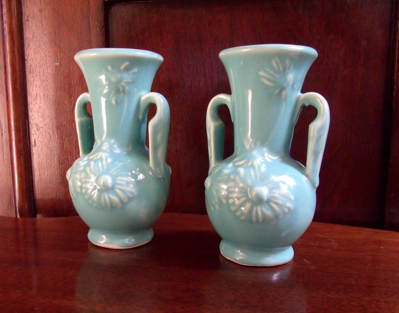 1940 S Shawnee Pottery Vases Pair Of Vintage Teal Usa