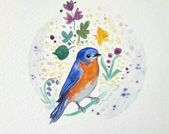 Bluebird of Happiness Watercolour - Original Watercolour (297x210mm)
