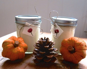 Two Autumn Scented Soy Candles in 8oz Mason Jar