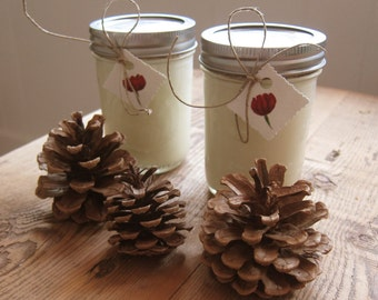 Two Holiday Scented Soy Candles in 8oz Mason Jar