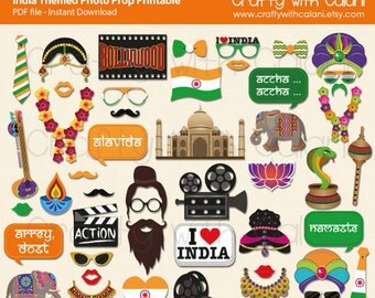 Bollywood Night Photo Booth Prop,  India Themed Photo Prop Printable, I Love India Photo Booth Prop