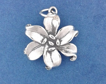 LILY Flower Charm .925 Sterling Silver, Daylily Pendant - br447