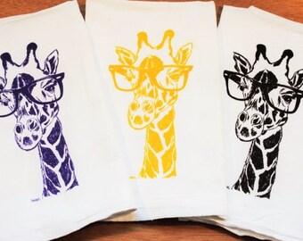 Giraffe Dish Towel Set of 3 - Screen Printed Cotton - Flour Sack Material -  Animal Tea Towels - African Theme