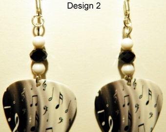 Music Notes on Black and White Guitar Pick Beaded Earrings - Handmade in USA