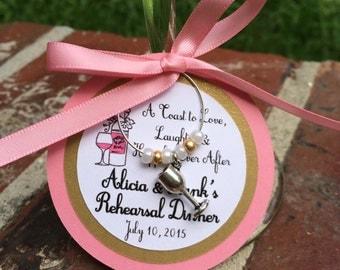Rehearsal Dinner Vineyard Theme Wine Charm Favor, Personalized, Bridal Shower Favor, Wedding Favor, Bridal Party Gift