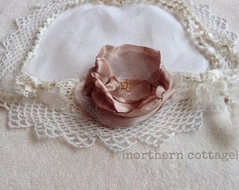 Tieback, Newborn Photo Prop, Simple Lace Bloom Headband, Wedding, Baby Girl, Halo,Tieback, Shabby Chic, Rose