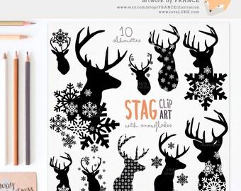 GET 3 FOR 2. Stag Snowflake Deer Silhouette Clipart. Deer Antlers. Christmas Clip Art. Xmas Craft Scrapbook. Transparent BG. CA008, CA011.