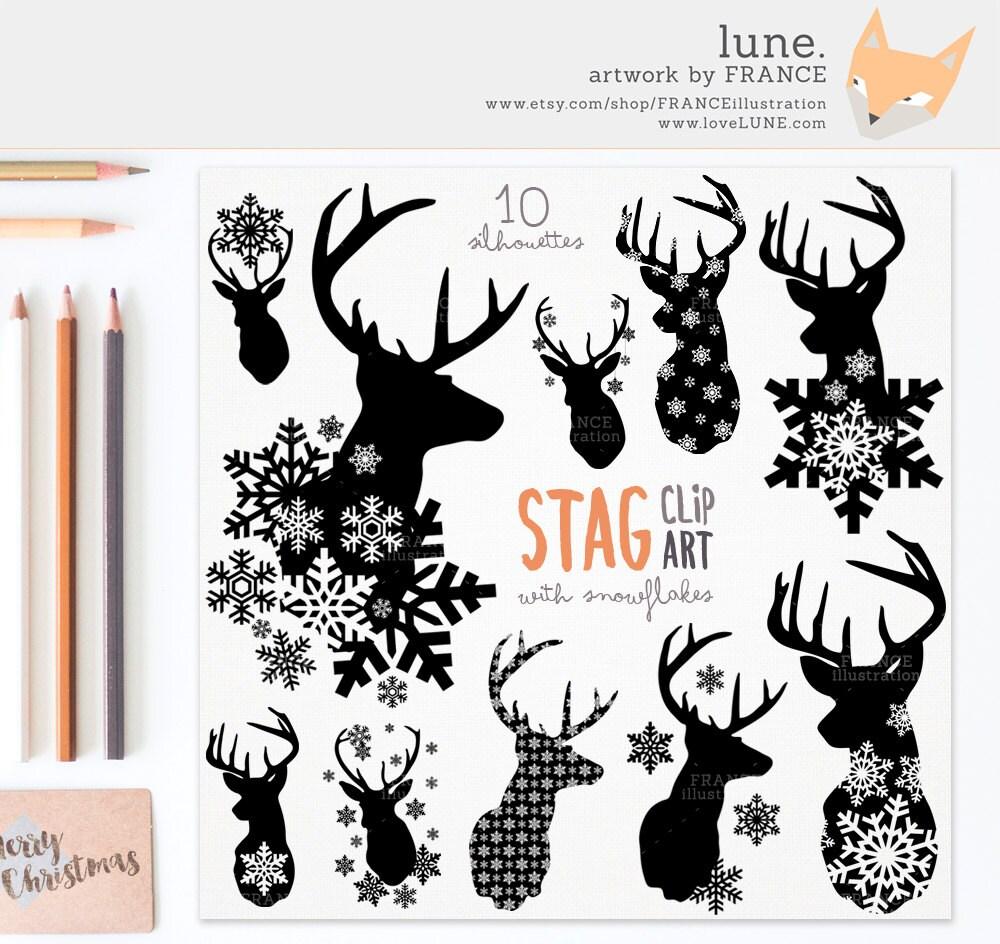 GET 3 FOR 2. Stag Snowflake Deer Silhouette Clipart. Deer Antlers ...