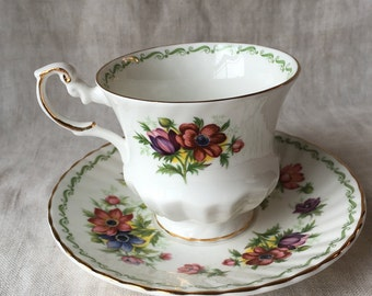 Vintage Tea Cup and Saucer Set, Rosina China Co, Queen's Special Flowers, Anemone, Made in England, Fine Bone China