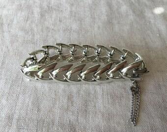 Vintage Coro Silver Tone Bracelet, Polished Silver, Estate Jewelry, PK122