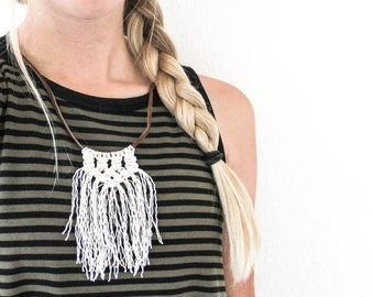 White Macrame Necklace on Leather