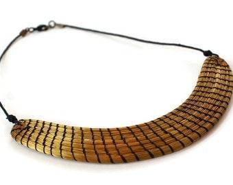 Half Moon Necklace, Moon Necklace, Golden Grass , Organic Necklace, Handwoven Necklace, Brazilian grass, crescent moon necklace