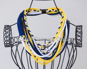 U of M Michigan inspired T-Shirt Scarf Double Infinity Scarf Blue Yellow