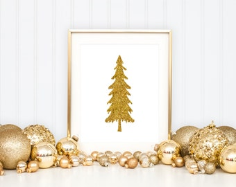 Christmas Printable Art Print 8x10, Gold Glitter Christmas Tree Print, Gold Christmas Decor, Holiday Decoration, Instant Download Poster