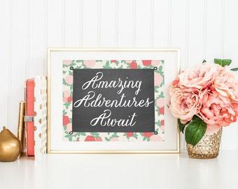 Amazing Adventures Await Printable Art Print 8x10 Cottage Chic Roses Shabby Nursery Art Nursery Decor Baby Shower Decor Download