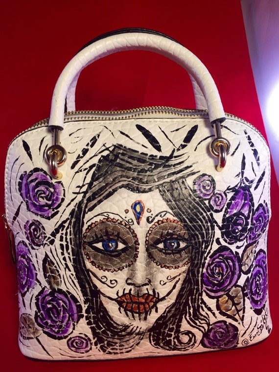 WOMEN'S handbags- Shoulder Satchel with Long Strap- hand painted