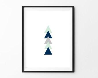 Nursery Wall Art Print // Modern Nursery Decor // Hamptons Triangles // Mint Navy Gray