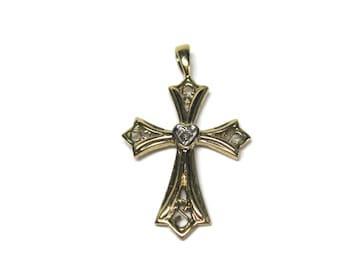 Simple Vintage 10K Diamond Cross Pendant