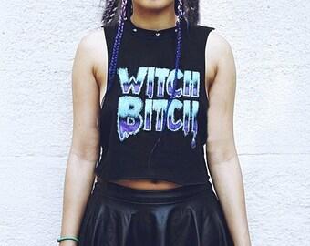 "Crop top rainbow tie dye ""Witch Bitch"" Festival Rave Cyber psychedelic Goth dark pixie Grunge Kawaii Holographic"