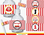 Fire Truck Party Water Bottle Labels - Firefighter Birthday - Fire Truck Birthday - Fireman Party - Napkin Wrappers (Instant Download)