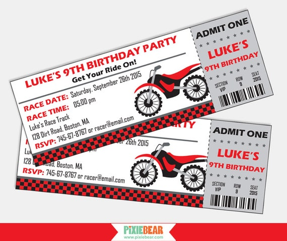 Dirt Bike Invitations Motorcycle Invitation Motocross Birthday – Motorcycle Party Invitations