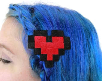 8 Bit Heart Headband, Pixelated, Multiple Colors