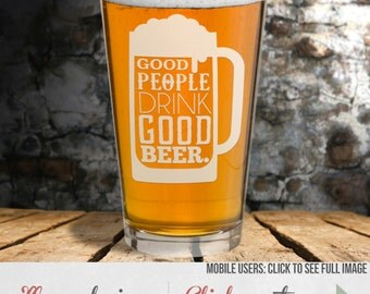 Etched Pint Glass - Beer Sayings