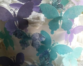 EdibleTeal Purple and Floral Wafer Butterflies Cake/Cupcake Toppers Set of 15